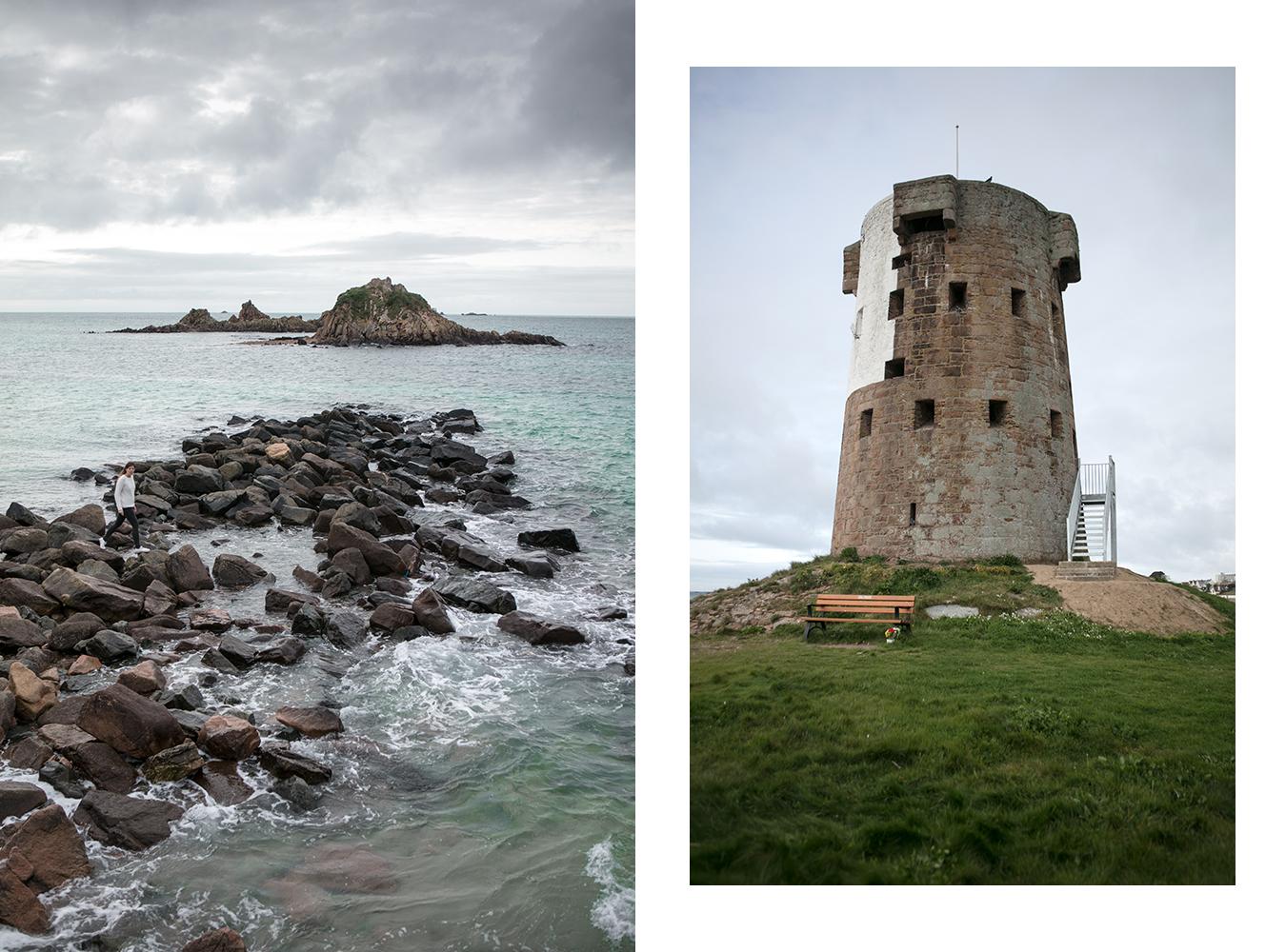 Le phare du Hocq sur la côte est de Jersey