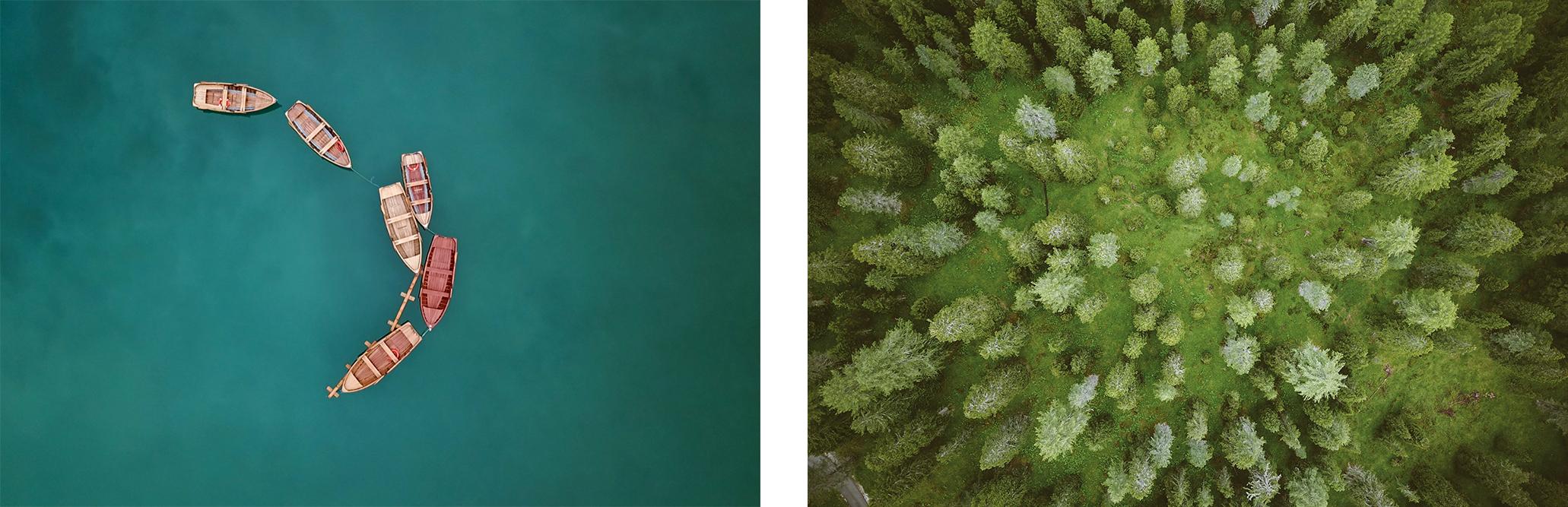 vues aériennes lago di braies forêt dolomites