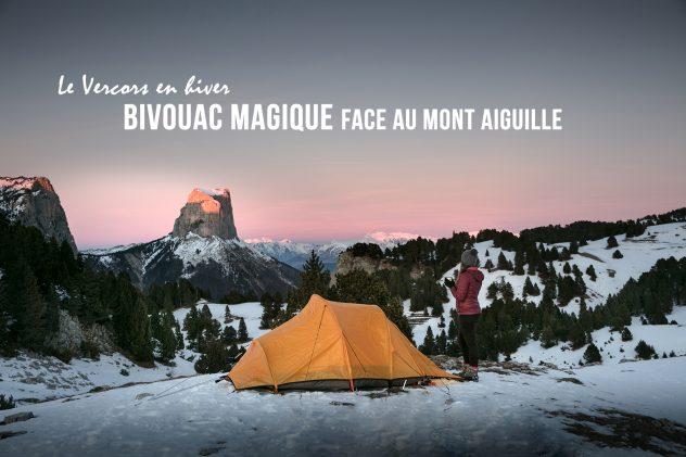 Bivouac en hiver sur les hauts plateaux du Vercors, face au Mont Aiguille