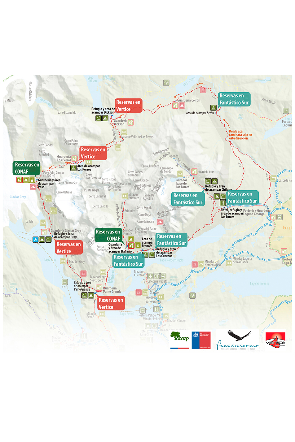 organismes des campings à Torres del Paine