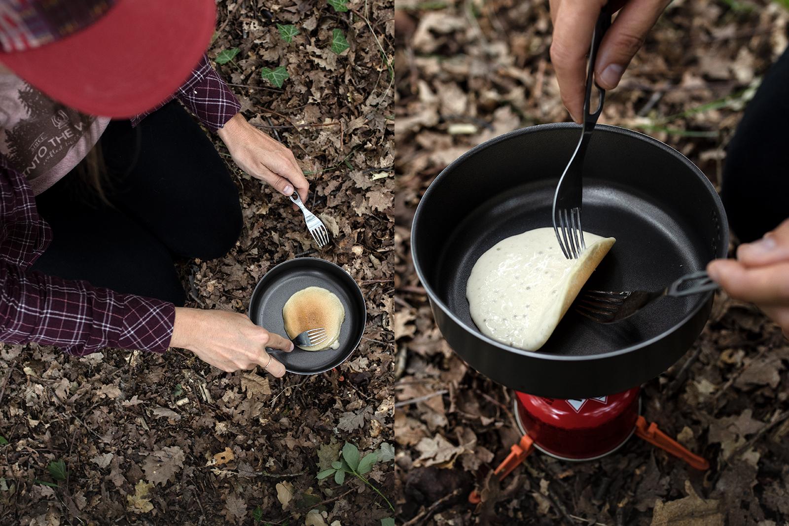 Cuisiner en bivouac au réchaud, recette de pancakes faciles