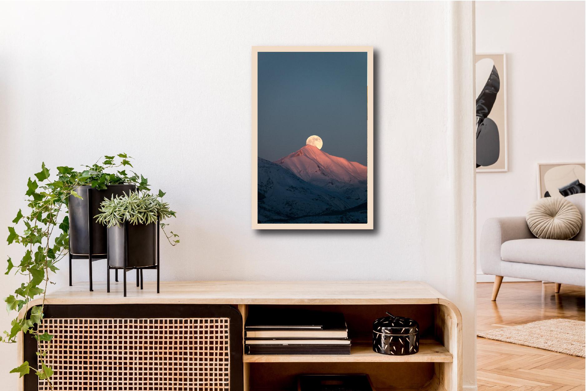 Tableau pleine lune montagne