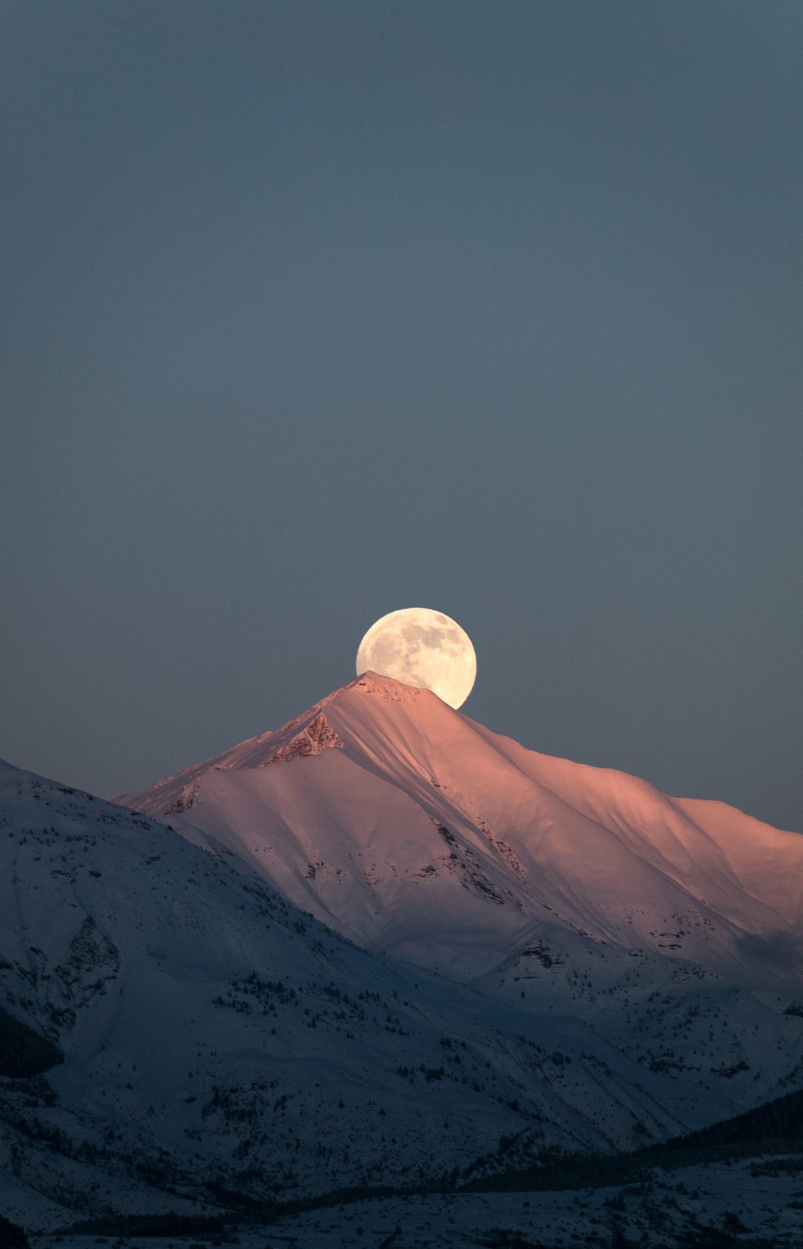 Tableau photo pleine lune et alpes